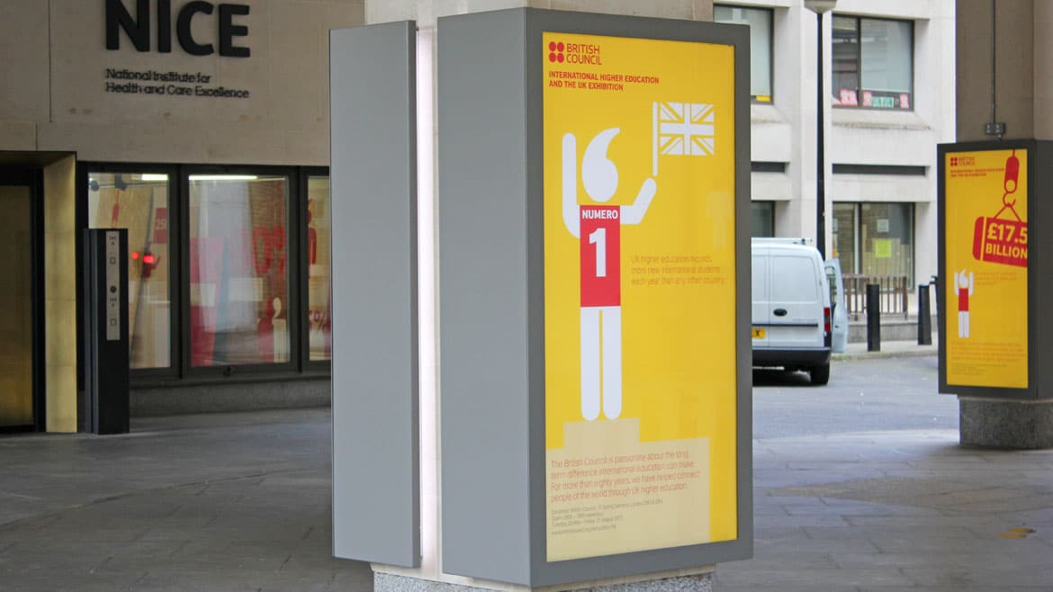 Public Sector Industry - Bespoke Poster case and sign at British Council