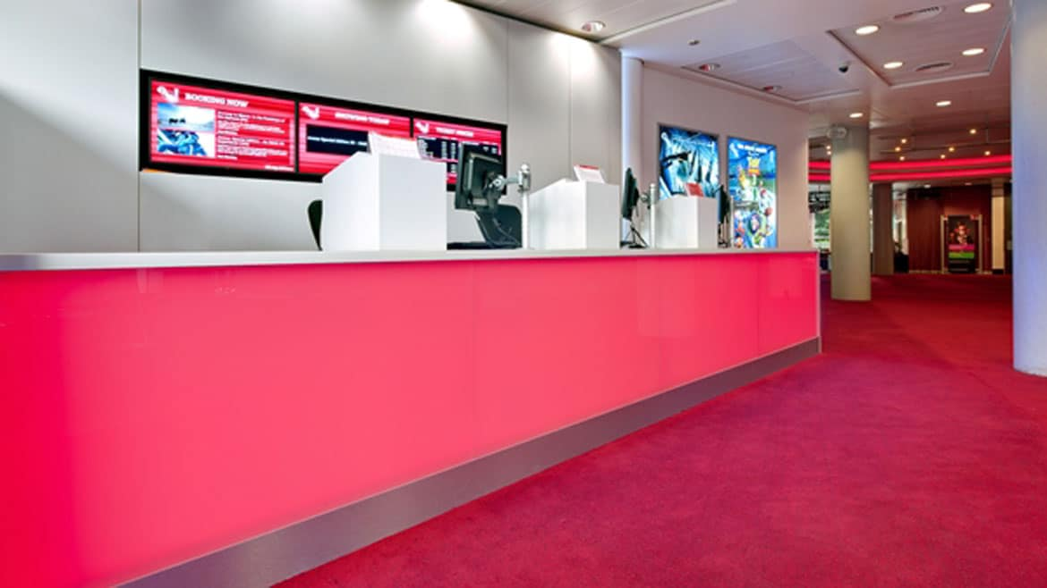 Entertainment Industry - BFI IMAX Cinema feature lighting ticket desk