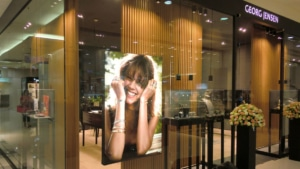 Fabric face retail display light box for Georg Jensen window display in Hong Kong