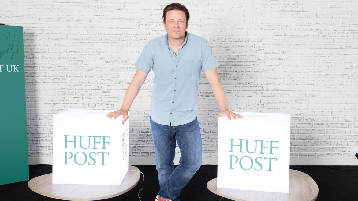 Nebula acrylic led Cubes for Huff Post with Jamie Oliver