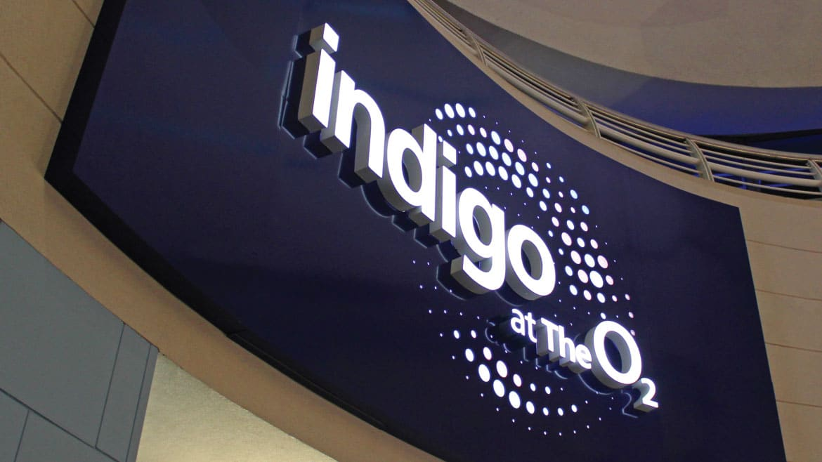 Custom Signs Built Up Face Illuminated Letters for Indigo at O2 Arena