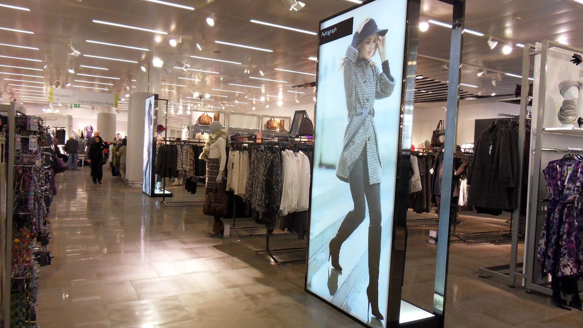 M&S Fabric Face Light Boxes for visual merchandising