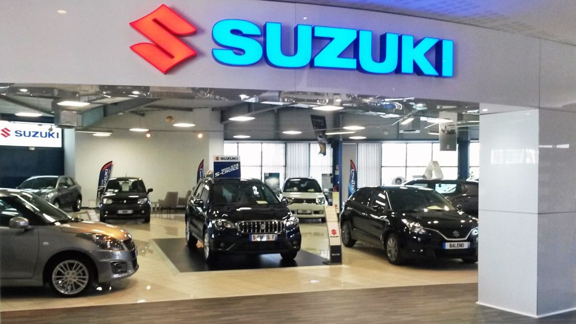 Illuminated Signage for Suzuki Showroom in Guadeloupe