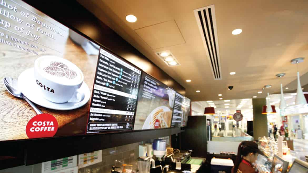 Digital Menu Screens for Costa Coffee