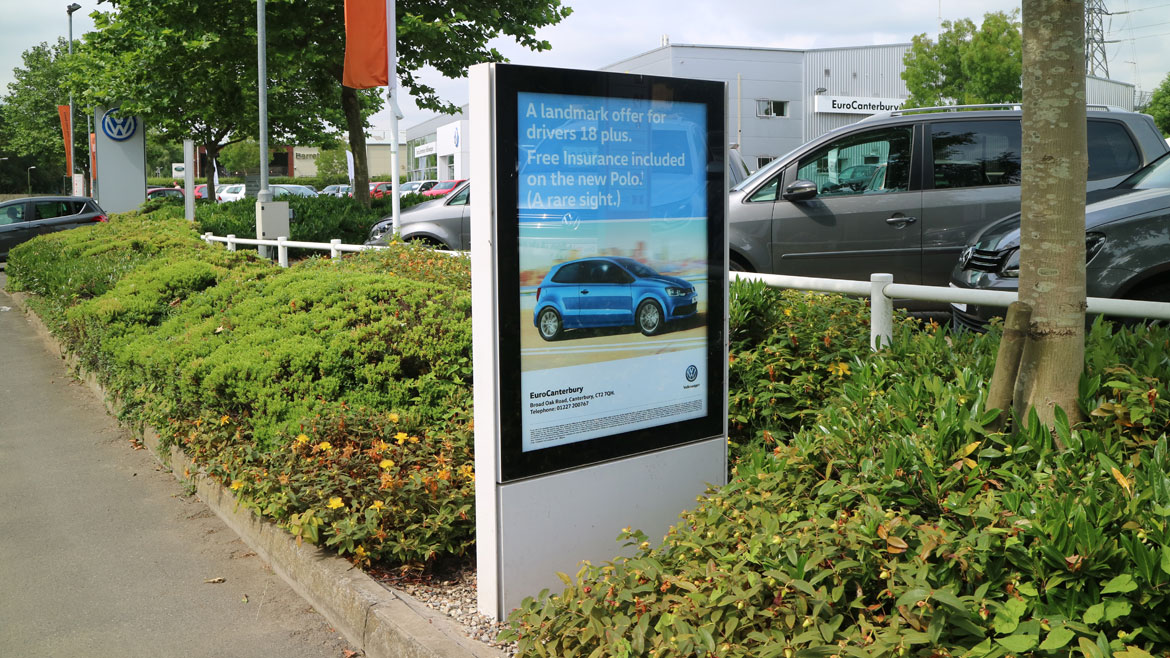 Outdoor Advertising LED Poster Case at VW car showroom